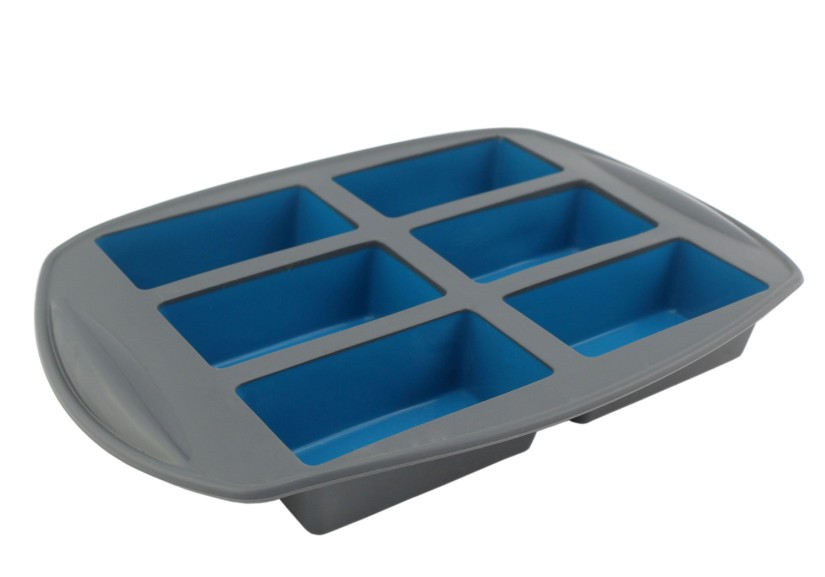 Silicone 6 Cavity Loaf Pan Duotone(HS-1110)